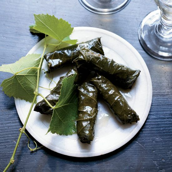 """Stuffed Grape Leaves with Pork and Fregola 