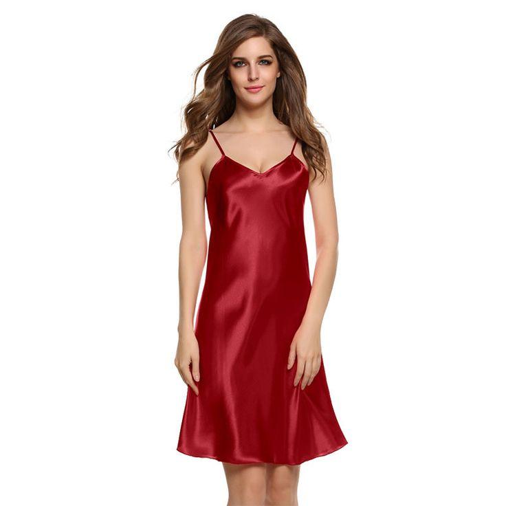 Nightwear Dress Summer Nightdress Solid Satin Women Sleepwear