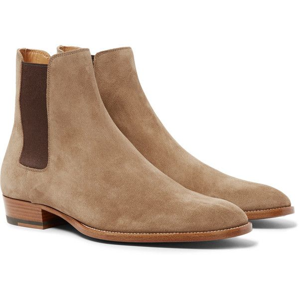 Saint Laurent Suede Chelsea Boots ($945) ❤ liked on Polyvore featuring men's fashion, men's shoes, men's boots, mens suede shoes, beige mens dress shoes, mens suede boots, yves saint laurent mens shoes and mens beige chelsea boots