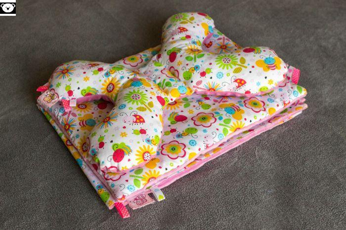 Letni kocyk z poduszką płaską oraz antywstrząsowym motylkiem - Misio Zdzisio
