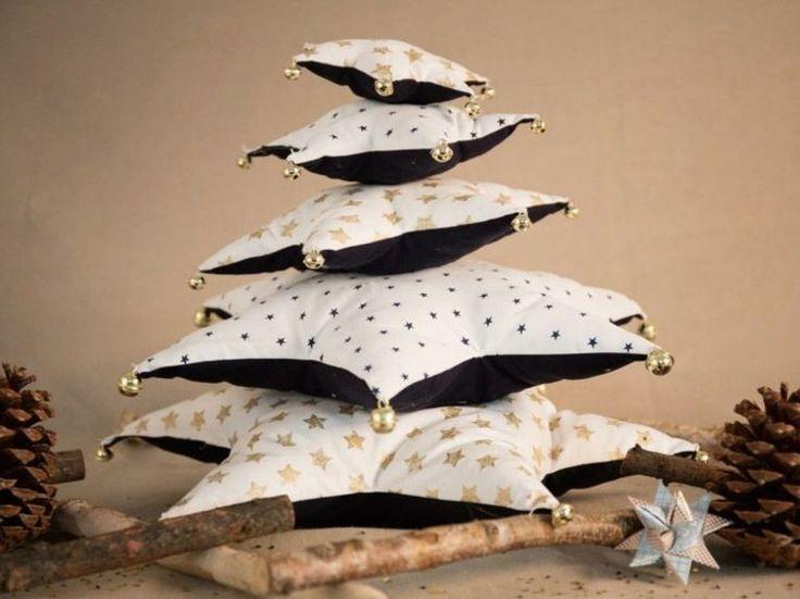 DIY-Anleitung: Weihnachtsbaum aus Sternkissen nähen via DaWanda.com