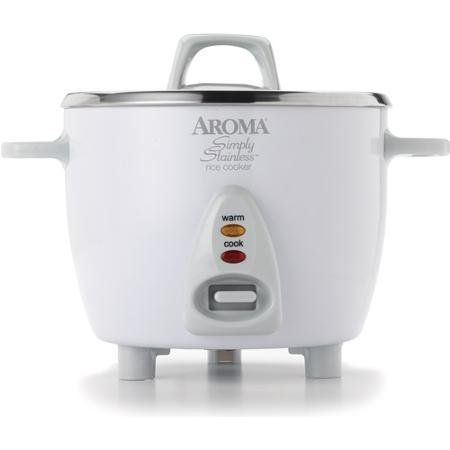 Aroma 6-Cup Stainless Steel Surface Rice Cooker, Silver