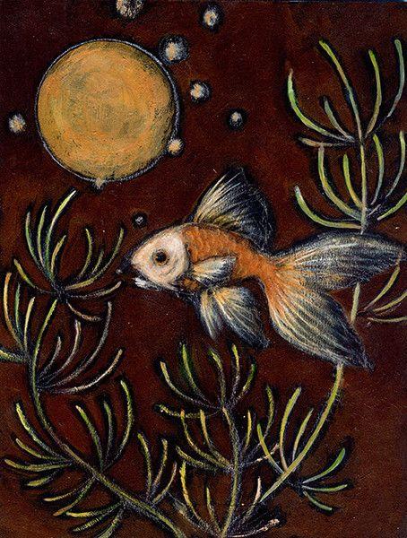 作品サイズ21×16センチ金魚は 水面にうつる 月を 本物と信じて 何処までも 泳ぎ続けます。額装はありませんが 裏に仮の吊り金具(ステンレス)を...|ハンドメイド、手作り、手仕事品の通販・販売・購入ならCreema。