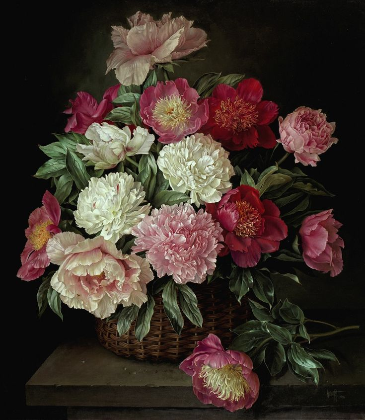 Wicker Basket of Mixed Peonies on Stone Shelf, oil on canvas 76 x 66 cm, 1996