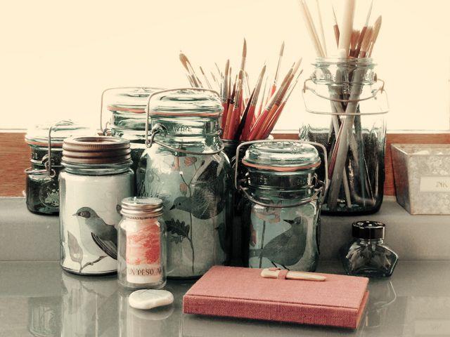 photo jarsDisplay Photos, Art Studios, Art Blog, Pictures Display, Art Storage, Photos Display, Mason Jars, Pictures Frames, Diy Projects