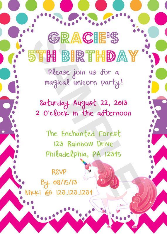 Rainbow Unicorn Birthday Invitation Digital File Party Ideas