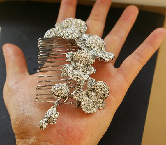 Bridal Hair Comb Crystal Orchids Wedding Hair Comb by luxedeluxe, $88.00: Orchids Wedding, Crystals Orchids, Orchids Bloom, Wedding Hair Combs, Bridal Headpieces, Wedding Hairs, Rhinestones Bridal, Bridal Hair Combs, Bridal Hair Accessories
