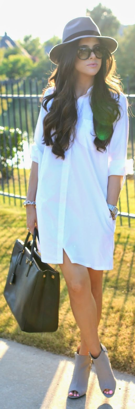 Cuyana White Button Up Mini Shirt Dress by The Sweetest Thing