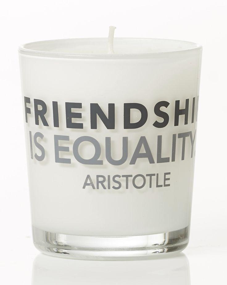 Friendship is equality - Aristotle. Violet scent. Dimension: D8x9cm. Material: paraffin.