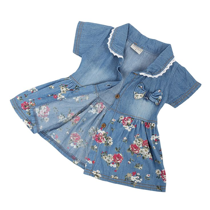 >> Click to Buy << 2017 Summer Style Girls Flower Jean Dress Baby Girls Cute Bow Denim Dress Kids Lapel Fashion Dress Outfits #Affiliate