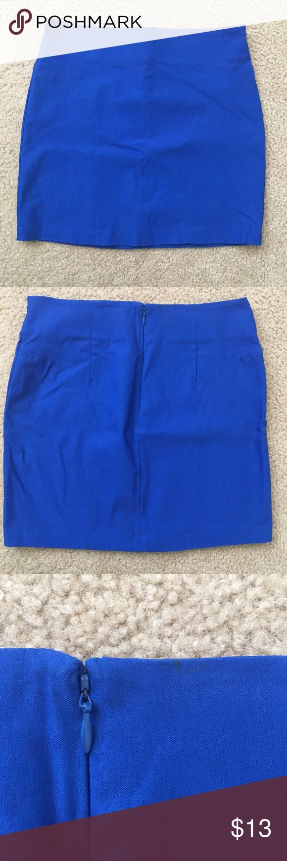 """Blue mini skirt •Length is 15.5"""" •74% rayon22% nylon 4% spandex •Small marking on the back as shown in the last picture  🎀check out the FREE with purchase items🎀 Forever 21 Skirts"""