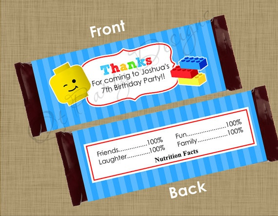 Diy printable lego hershey candy bar wrapper by qtpartydesigns 500 lego party pinterest for Diy candy bar wrapper
