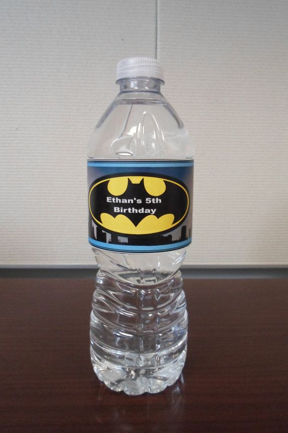 Water Bottle Label Batman Themed Party Water by CrazyCraftyYoli
