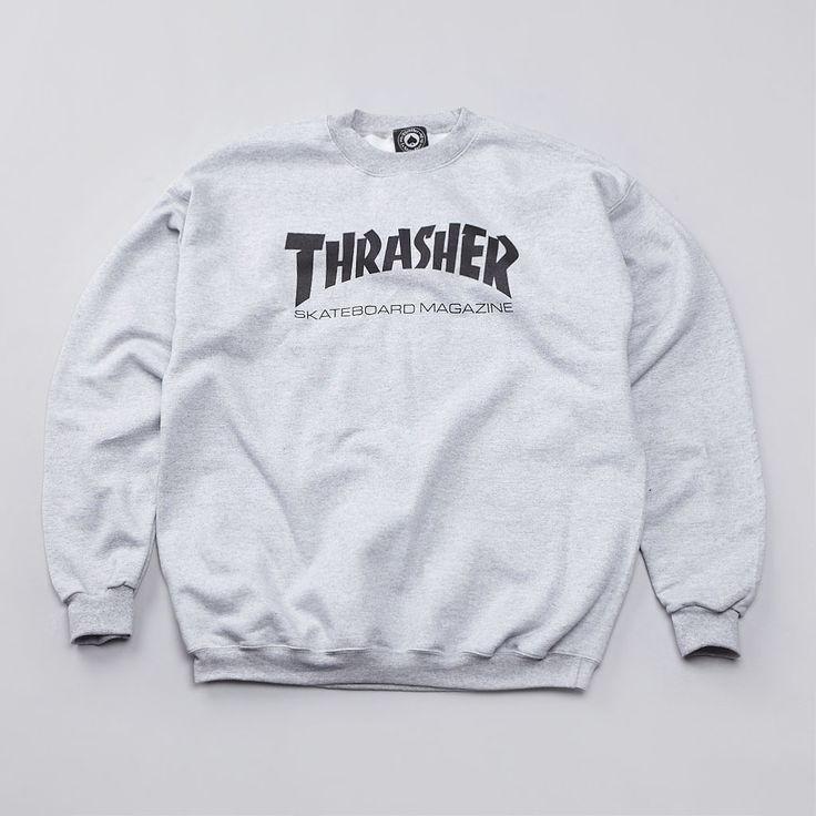 If you don't wear this, people won't know you thrash. Flatspot - Thrasher Skate Mag Logo Crew Sweatshirt Heather Grey