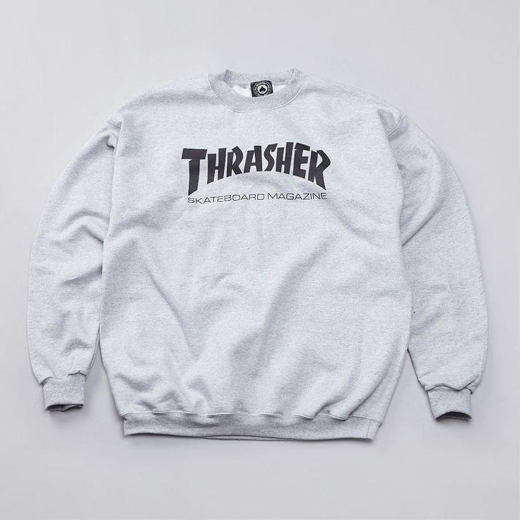 If you don't wear this, people won't know you thrash. Flatspot - Thrasher Skate Mag Logo Crew Sweatshirt Heather Grey