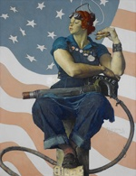Rosie the Riveter, Norman Rockwell, 1943: Rosie Riveter, The Saturday, Norman Rockwell, Illustration, Rockwell Rosie, Saturday Evening Posts, Crystals Bridges, Rosie The Riveter, Role Models