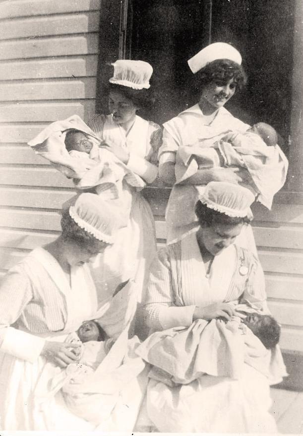 Nurses with babies.