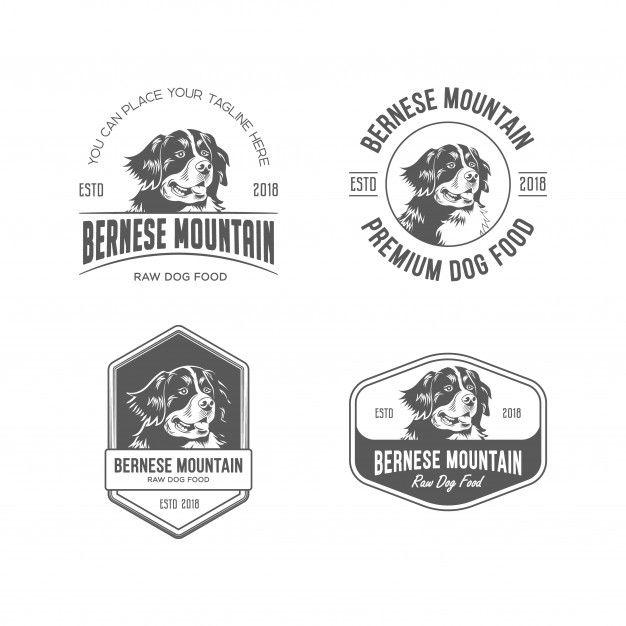 Bernese Mountain Dog Food Logo Set Logo Dog Logo Design Dog
