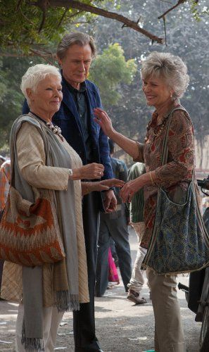 Judi Dench, Diana Hardcastle, and Bill Nighy in The Second Best Exotic Marigold Hotel (2015)