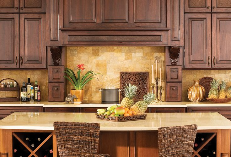 """Gorgeous cabinetry... West Indies Design Collection For the Kitchen. Designer Cabinetry shown with """"Montego"""" door style Lyptus with Heavy Heirloom """"C"""" finish. See more on Dura Supreme Cabinetry's West Indies board here: http://pinterest.com/durasupreme/i-west-indies-style/"""