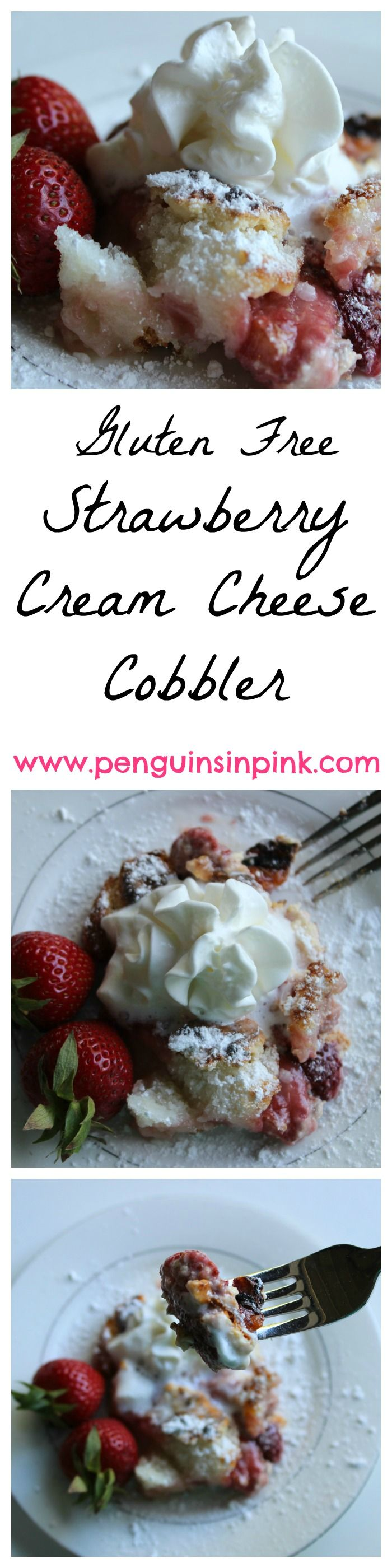 Strawberry Cream Cheese Cobbler {Gluten Free} - Sweet strawberries and smooth cream cheese mix enveloped with a flaky crust. Strawberry cream cheese cobbler is perfect for brunches, afternoon teas, or wedding and baby showers.