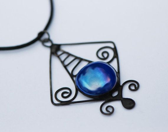 Stained glass jewelry nautical pendant glass necklace Celtic wire glass pendant royal blue elegant square abstract nautical wire jewellery