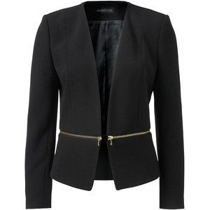 Forever new black blazer with gold zip