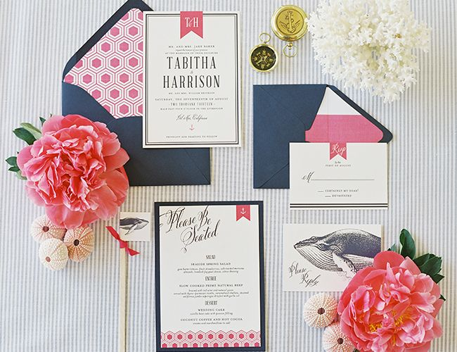 nautical wedding stationery with whales, pink, and navy