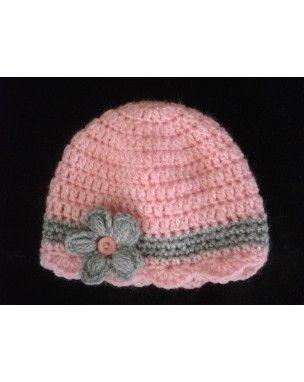 bonnet bébé au crochet fait main coloris gris dominant fleur rose                                                                                                                                                     Plus