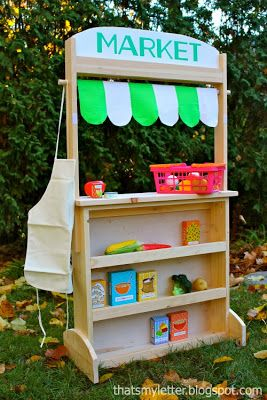 "That's My Letter: ""P"" is for Play Stand, diy kids play stand. Has signs to make it into many things - ie. post office, store"