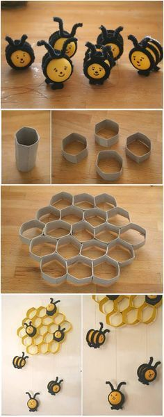 How to DIY Lovely Beehive and Bees Decoration from Toilet Paper Rolls                                                                                                                                                      More