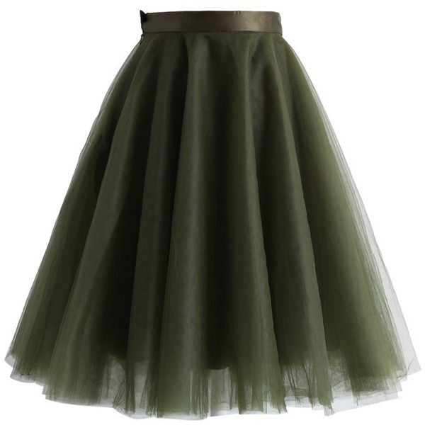 Chicwish Amore Mesh Tulle Skirt in Olive ($51) ❤ liked on Polyvore featuring skirts, bottoms, faldas, green, ballerina skirt, army green skirt, green tulle skirt, layered skirt and ballet skirt