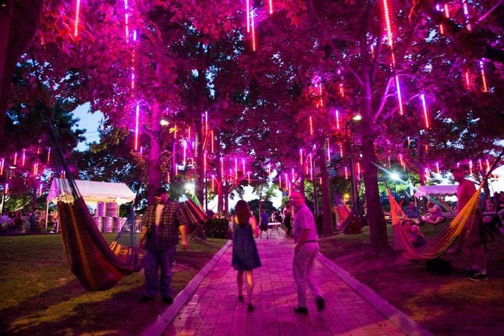 Spruce Street Harbor Park - beautiful lighting and hammocks. Perfect!