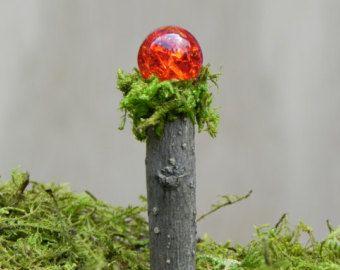 Hadas jardín mirando bola miniatura Woodland crujido rojo/naranja para accesorios de terrario - UNO