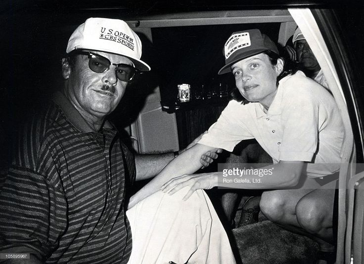 Jack Nicholson and Rebecca Broussard during US Open Tennis Tournament - September 8, 1991 at USTA National Tennis Center in Queens, New York, United States.