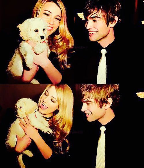 Chace Crawford as Nate Archibald & Blake Lively as Serena van der Woodsen with Penny Blake's Dog