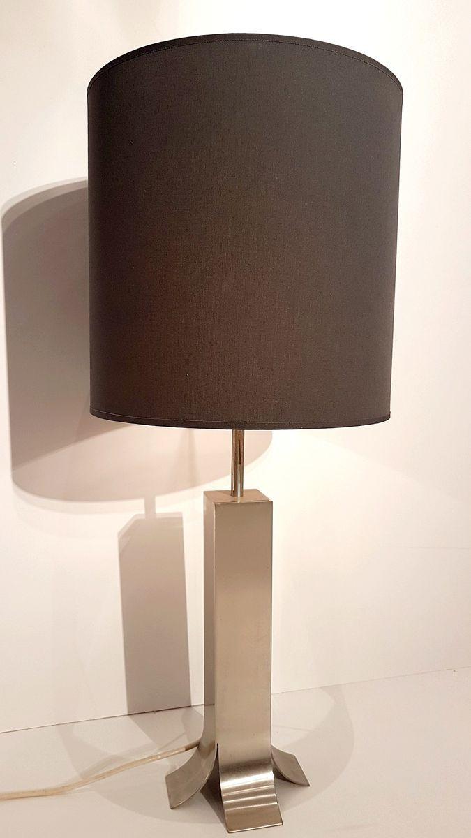 LED Tischleuchte Nachttischlampe mit Fuß Keramik beige Stoffschirm eckig weiß