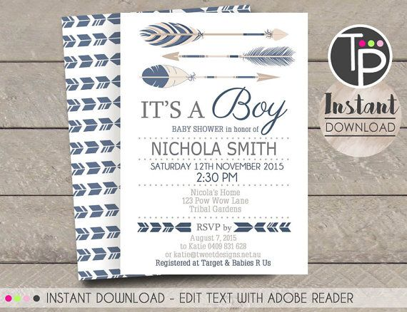 25+ best ideas about arrow baby shower on pinterest | tribal baby, Baby shower invitations