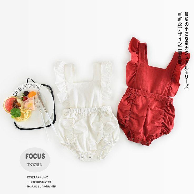 Новый 2017 Мода лето хлопка младенца ухо лук красный белый комбинезон 0-3years (выбрать размер и цвет)-Детские комбинезоны-ID товара::60619938829-russian.alibaba.com