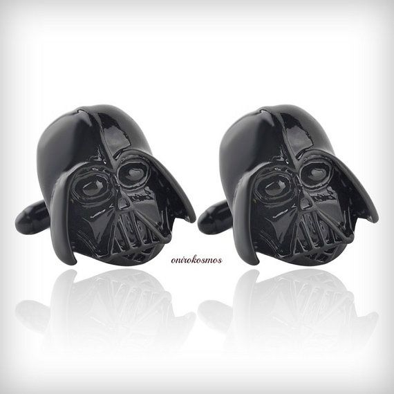 3D Star Wars Black Stainless Steel Darth Vader, Dark Knight Mask Helmet Dark Lord Sith Cufflinks, Imperial Empire Darth Vader - Clone Wars.