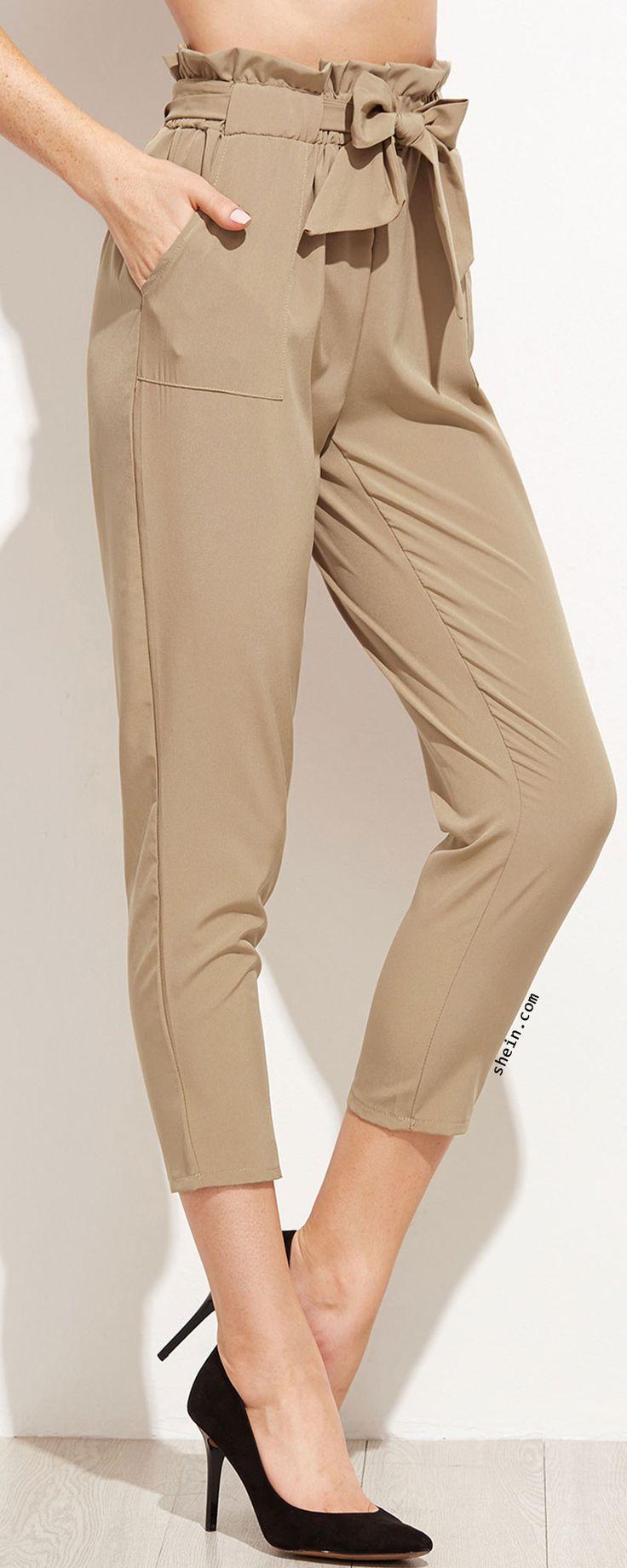 Khaki Tie Waist Ruffle Peg Pants