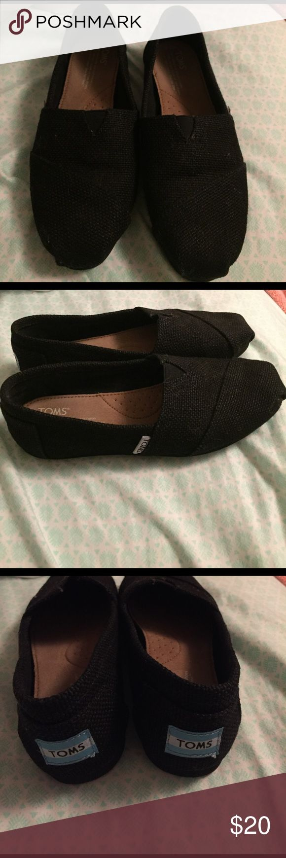 Black Burlap TOMS women's size 6.5 Black burlap TOMS, worn very few times TOMS Shoes Flats & Loafers