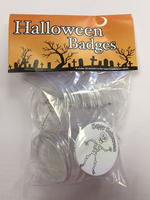Fun Colour in Yourself Halloween badges - available in a variety of packs on our website and on eBay. Be creative and colour in your own Halloween badges, great for parties, trick or treat and prizes for Halloween activities including apple bobbing!