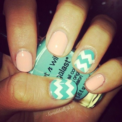 cute colors // tiffany blue and white chevron   peach nail polish