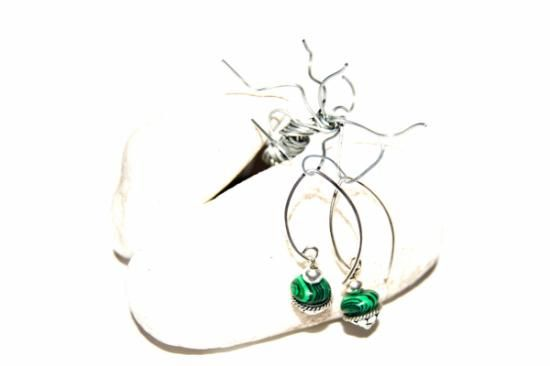 Sterling silver and malachite earrings