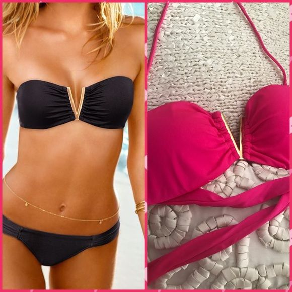 V-Wire Bandeau Top Hot pink bandeau top with classic goldtone V-wire detail. Removable padding and straps plus side boning for support. Ties at back. Fully lined. Imported nylon/elastane. Like New.  - Victoria Secret doesn't sell swim anymore. Last chance to get VS bathing suits!!!  - Pink is hot this summer. 🌞 Victoria's Secret Swim Bikinis