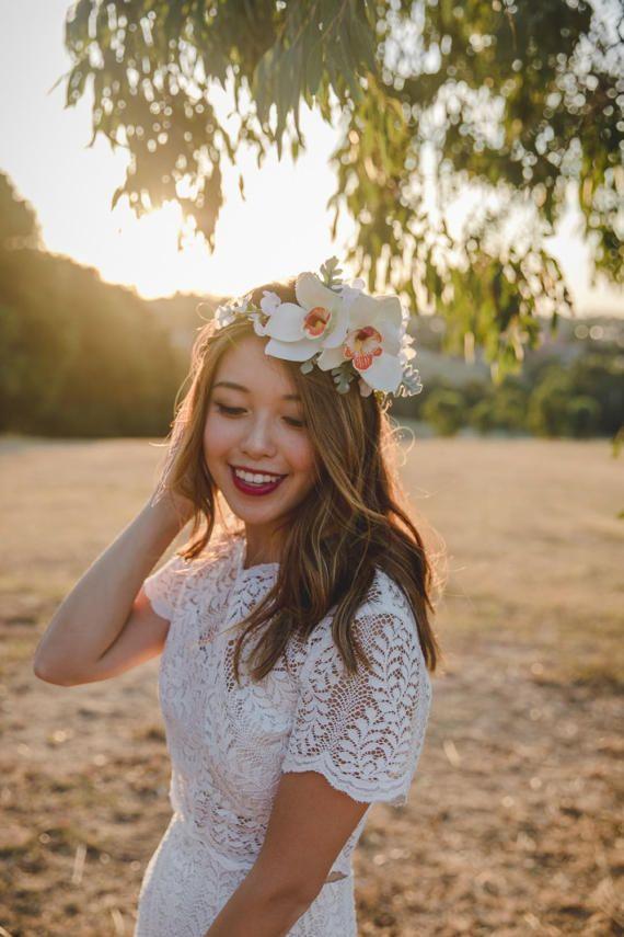 cream orchid flower crown // wedding flower crown / spring floral headpiece / cream white ivory spring flower crown / bridal flower crown /