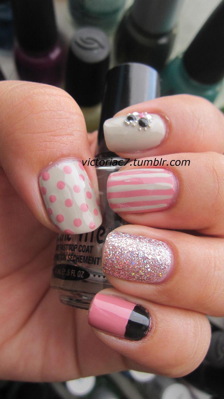 mix: Polka Dots, Nails Art, Nails Design, Nailart, Pink Nails, Pretty Nails, Nails Patterns, Mixed Matching, Pink Black Nails