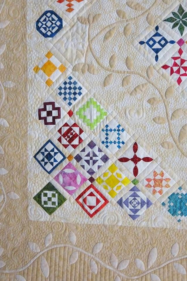 Jane's Spring Garden, Quilters Unlimited, 2014 Dear Jane raffle quilt. Quilted by Diane Henry.