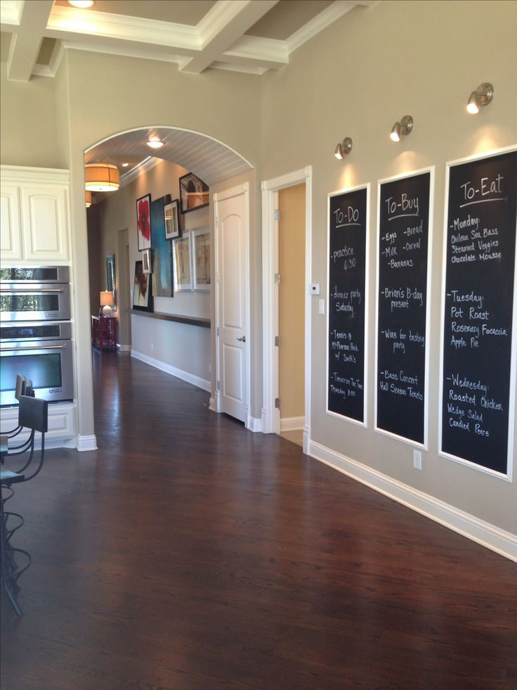 Chalk boards in kitchen area. Toll Brothers model home.
